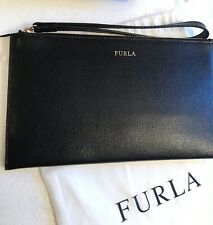 NEW FURLA BLACK Leather Wristlet Clutch Slim Bag Small Purse Pouch Made Italy