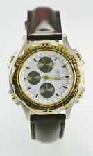 Dumont Saab Mens Watch Chro Stainless Silver Gold Brown Leather 50m White Quartz