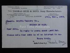 Glasgow Thomas Reid & Sons, Jabón fabricante C1905 enteros postales Pc