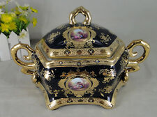 Limoges Style Candy Jar/ Tureen Centerpiece in Cobalt Blue & Gold Romance