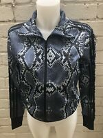 Woman's Adidas Originals Track Top Size 12 Black Ladies Jacket Snakeskin