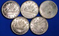 5x 1962 - 1966 Canada Canadian $1 dollars,  80% silver, QEII, aUNC *[18969]