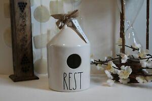 "Rea Dunn Round Birdhouse ""Rest"" Two Bird Icon Artisan Collection by Magenta #202"
