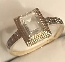 FABULOUS! 10k Yellow Gold 1.4CT Natural Aquamarine & Diamond Accent Ring Size 7
