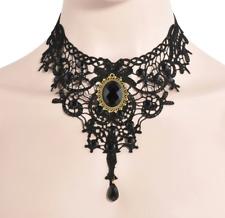 Women Vintage Victorian Gothic Black Lace Necklace Choker Collar Punk Pendant