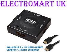 3 porte HDMI Switch Splitter box automatico manuale con 2 x cavi HDMI