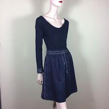 Noa Noa Robe Femme XS 34 36 bleu argent brodé danois design féminine Knit