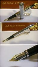 stilografica Regal Royal British EDWARD Chrome stylo Fountain Pen nib two-tone