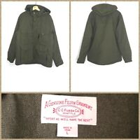 CC Filson Men's Dark Forest Green Full-Zip Wool Blend Hooded Snow Jacket - Large