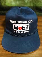 Vintage Blue Suburban Oil Mobil Gas Station Rope Snapback Hat Trucker Cap VGC