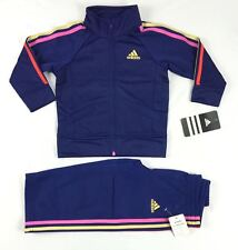 adidas Baby Girls Set 2 Piece Tricot Tracksuit Jacket & Pants Sizes 12 18 Month 18 Months Navy Polyester