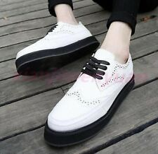 Casual Mens High Creepers Lace Up Carved Oxfords Wing Tip Brogue Platform Shoes