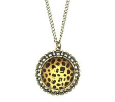 Vintage leopard resin animal print chain necklace