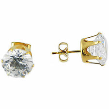 2 Pairs Stainless Steel Gold Unisex Stud Earring with 8 mm Clear Round CZ
