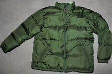 Womens Sz Large Ll Bean Reversible Goose Down Puffer Winter Coat Jacket Green