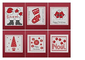 Cross Stitch Christmas Card Kit - 6 cards - Red Designs - Includes 6 red cards