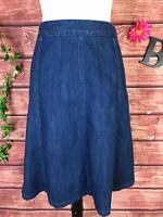 LL Bean Skirt size 8 Classic Fit Denim Jean Knee A Line Pockets Stretch Modest