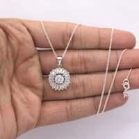 3 CT VVS1 Round Cut Diamond Stardust Womens Pendant Necklace 14K White Gold Over