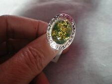 Baltic Green Amber ring, 16 x 12 mm, size L/M, in 3.7 grams of 925 Sterling Silv