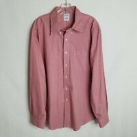 Brooks Brothers 346 Mens Red Plaid Button Front L/S Slim Fit Shirt Size XL M211