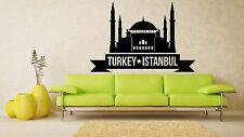 Wall Vinyl Sticker Decal Skyline Horizon Panorama City Turkey Istanbul Art F1863