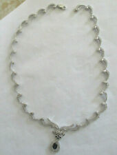 14K Gold Diamond & Sapphire Necklace Diamond=2.00 F-SI2  TCW-3.50  Value=$8,500
