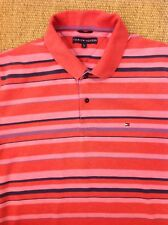 TOMMY HILFIGER Large Polo Shirt. Pink & Red Striped. Good Condition.