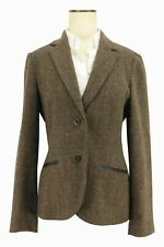 New Brooks Brothers Women's Brown Tweed Wool Leather Trim Blazer Sport Coat Sz 8