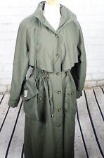 TravelSmith Packable Trench Coat Long Jacket + Bag Women's M Medium Green Hood
