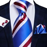Mens Silk Ties Blue Red Pink Multi Striped Paisley Necktie Hanky Cufflinks Set