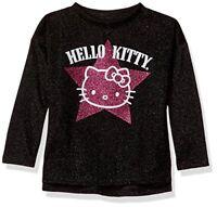 Hello Kitty Girls' Little Metallic Knit Sweatshirt with Glitter Print, Black, 5