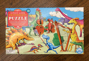 """Eeboo 3 Foot Long 9.5"""" x 36"""" Panoramic Puzzle 36 Pieces Dinosaurs At Leisure 3+"""