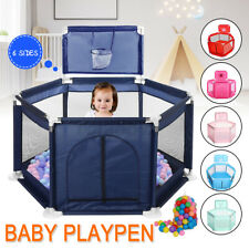 Baby Playpen Kids 6 Panel Safety Play Game Yard Home Indoor Pen Fence