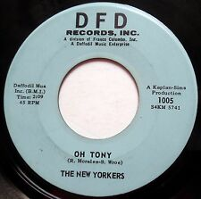 THE NEW YORKERS 45 Oh Tony / Adriatica KILLER Popcorn R&B Instrumental jr205