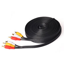 33 FT 10m 3 RCA Male to Plug Cable/Lead - Audio & Video Composite AV TV/DVD Wire