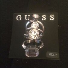 Guess Four Stackable Rhinestone Rings NWT Size 7 HTF