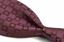"CHARVET Purple Borwn Box Geometric 100% Silk Mens Luxury Tie - 3.625"""