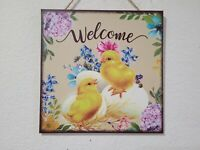 "Easter Spring Yellow Chicks Floral Hanging Wall Sign Decor 10.5"" x 10.5"""