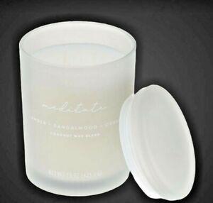 Meditate Glass Spa Candle Wax Blend Amber + Sandalwood + Orris Beautiful Scent