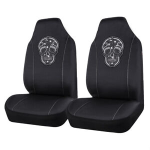 Universal 2 Front Hooded Car Seat Covers Black Skull Pattern Breathable Cloth