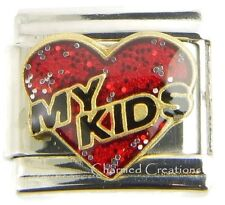 Red Heart I Love My Kids 9mm Italian Charm Link For Bracelet Daughter Son