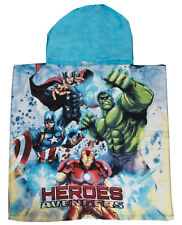 Boys Marvel Avengers Character Poncho Hooded Swimming Beach Bath Towel Summer