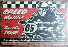 Cafe Racer Speed Thrills Motorcycle Bike Garage Shop Retro Metal Tin Sign