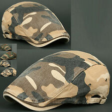 Newsboy Beret Flat Cap Hat DMO BROWN Cabbie Gatsby Camo Hunting Military Army