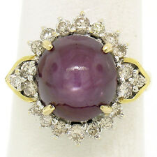 14K Two Tone Gold 11.60ctw Cabochon Star Ruby & Champagne Diamond Cocktail Ring