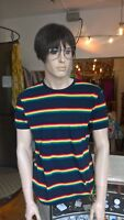 mens new 60's/70's vintage retro mod style navy t shirt repeat rainbow  stripes