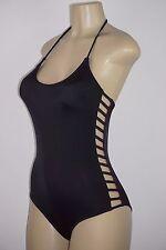 Victoria's Secret PINK Strappy Caged Side One Piece Swim Suit Black LARGE