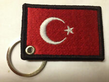Turkey Flag keyring Machine Embroidered Patch Turkish Key Chain Chrome Rings Fob