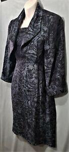 Size 14 LAURA K 2 piece sleeveless dress and bolero crop jacket black charcoal