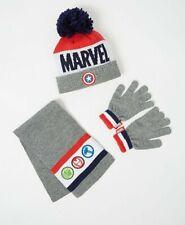 Marvel Avengers Bobble Hat Scarf & Gloves Set For Boys Kids